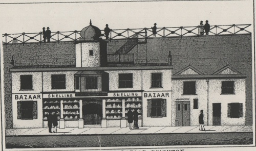 The Royal Chain Pier Bazaar and cottage, possibly home to the Pier Manager.  Image reproduced courtesy of The Royal Pavilion and Museums, Brighton & Hove.