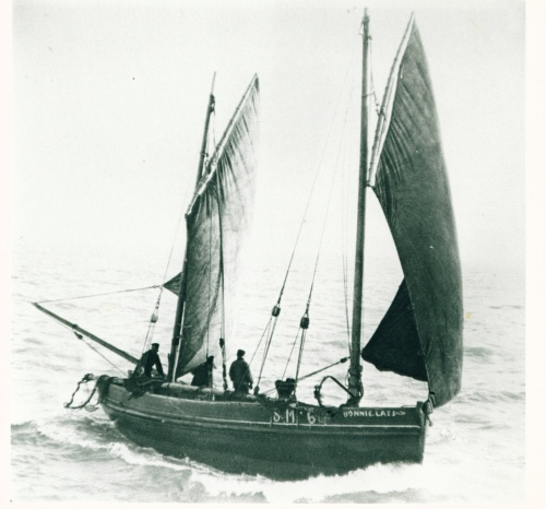 Reproduction courtesy of Alan Hayes.  Lugger similar to the 'Smiling Morn'.