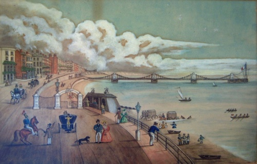 """The Times reported that """"to a man of pleasure and the valetudinarian [a person who is unduly anxious about their health] it offers a marine promenade unequalled"""".  Image reproduced courtesy of The Royal Pavilion and Museums, Brighton & Hove."""
