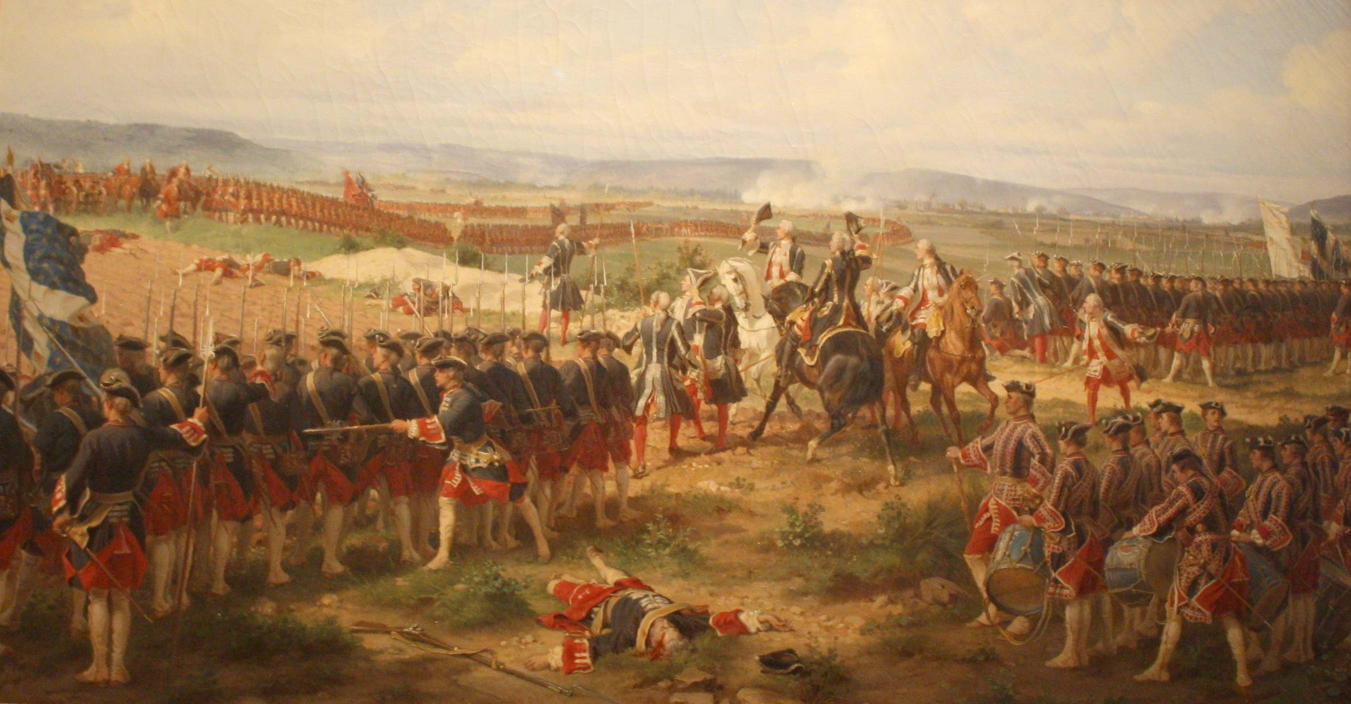 The Battle of Fontenoy, 1745 at which Phoebe Hessel was wounded, painted  by Felix Philippoteaux, 1873 [Wikimedia Commons]