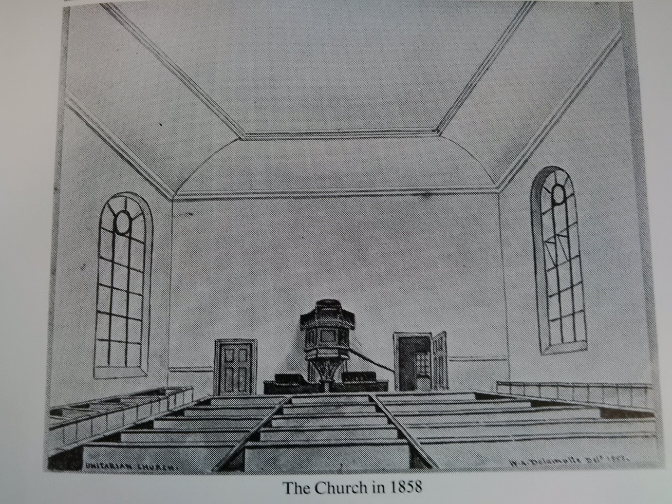Interior of church in 1858 by William Alfred Delamotte. All seats were free – congregation members did not have to pay for their pew.  Image courtesy of Royal Pavilion & Museums, Brighton & Hove.