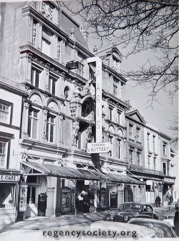 Photograph courtesy of the Regency Society.  The Paris Cinema. Built in 1893 as a theatre. Photograph dated 2 March 1963, taken just before the building was sold for subsequent demolition.
