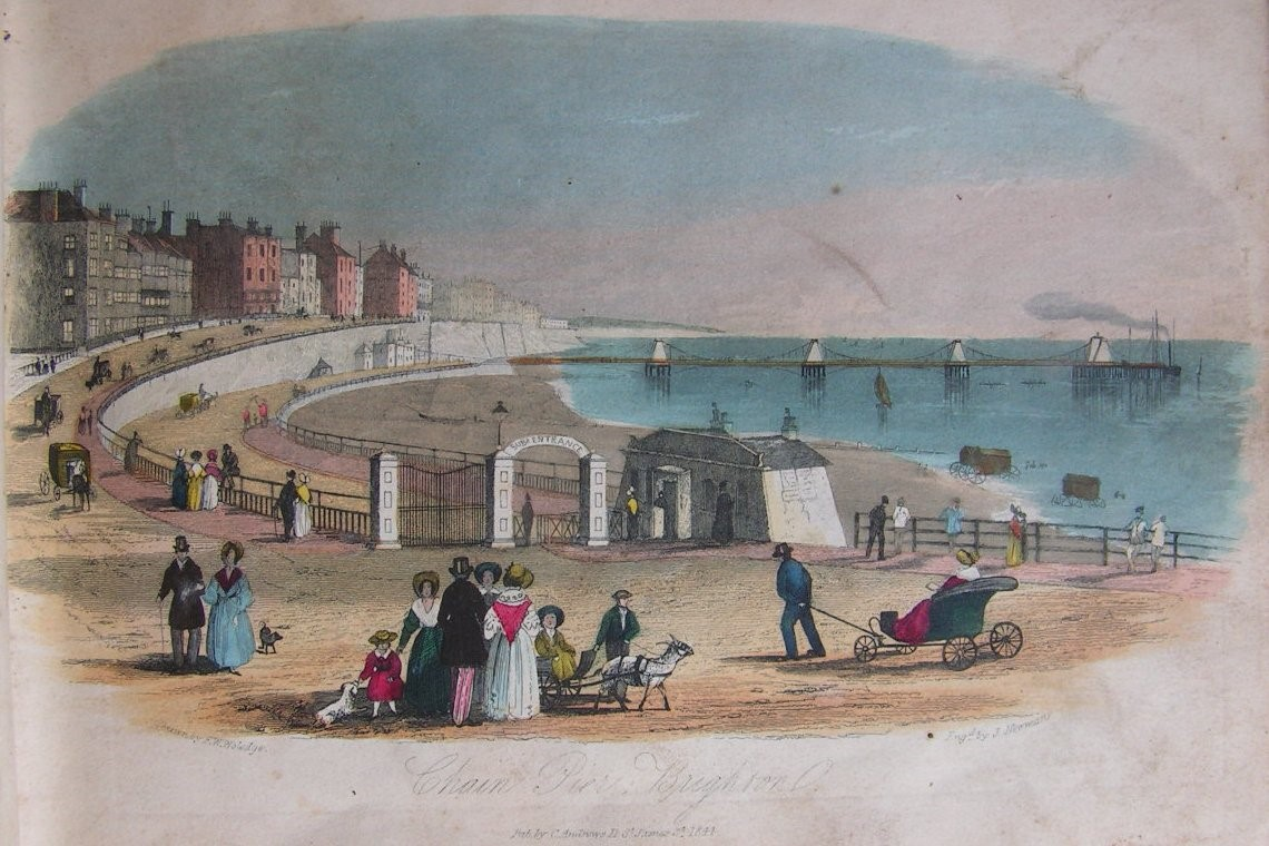 Henry Ratty's cottage and the Bazaar can just be seen under the sea-wall  by the pier entrance. Image reproduced courtesy of The Royal Pavilion and Museums, Brighton & Hove.