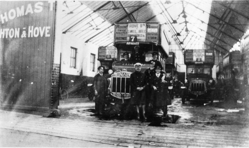 A photograph of the garage in Montague Place garage in the 1920s. These are not electrobuses.  Photo kindly supplied by Step Back in Time in Queens Road.