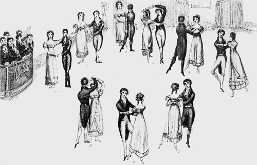 Detail from 1816 frontispiece to Thomas Wilson's Correct Method of German and French Waltzing (1816), showing nine positions of the Waltz, clockwise from the left. At that time, the Waltz was a relatively new dance in England, and the fact that it was a couples dance (as opposed to the traditional group dances), and that the gentleman actually clasped his arm around the lady's waist, gave it a dubious moral status in the eyes of some.   Copied from Wikipedia and in the public domain because the copyright has expired.
